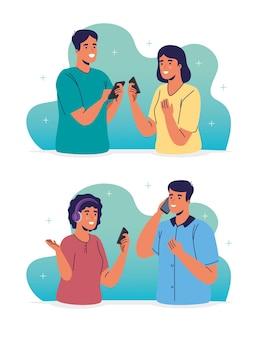 Jonge stellen die smartphones-karakters gebruiken