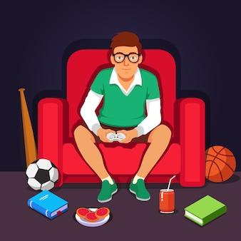 Jonge student hipster spelen videospelletjes