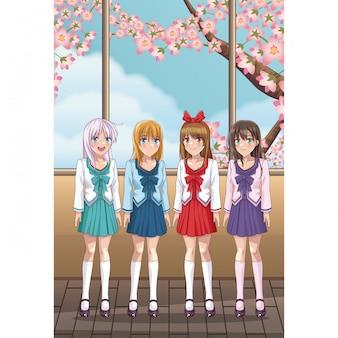 Jonge studenten anime dames