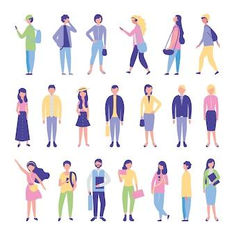 Jonge studenten groeperen avatars-personages