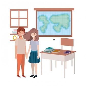 Jonge studenten in aardrijkskundeklaslokaal