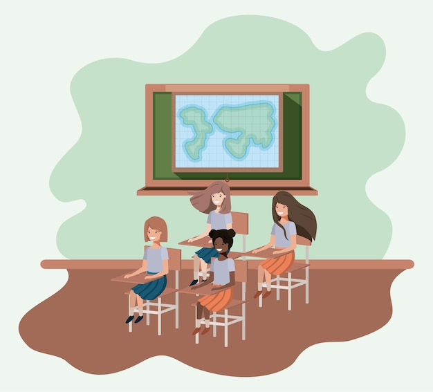 Jonge studenten in geografie klaslokaal