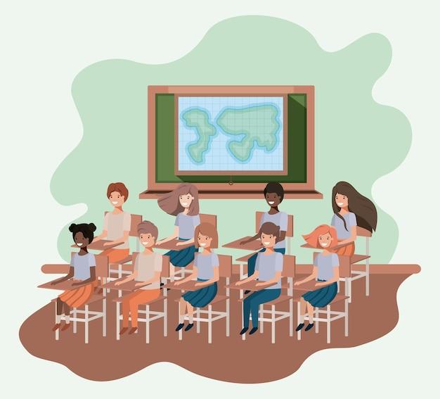 Jonge studenten in ontwerp van de het klaslokaal het vectorillustratie van de aardrijkskunde