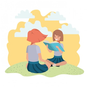 Jonge studentenmeisjes die lezingsboek zitten