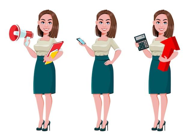 Jonge succesvolle bedrijfsvrouwenset van drie stelt