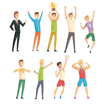 Jonge succesvolle mannen in casual en sportkleding genieten van hun geluk set illustraties op een witte achtergrond