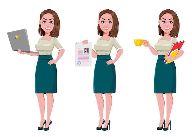 Jonge succesvolle zakenvrouw set van drie poses