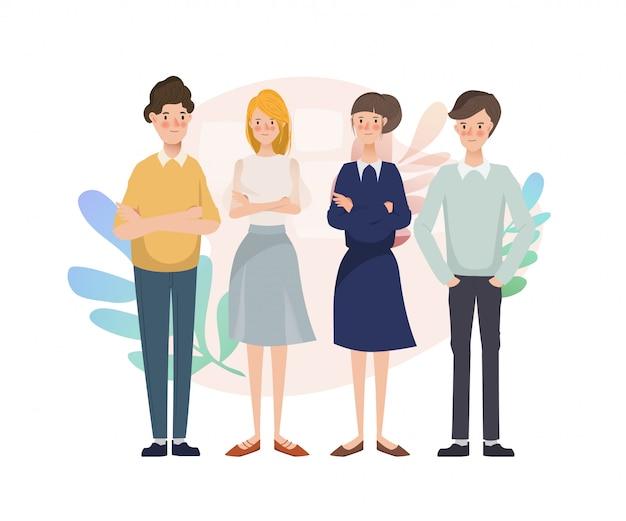 Jonge teamwerk mensen brainstormen bedrijfsgroep karakter.