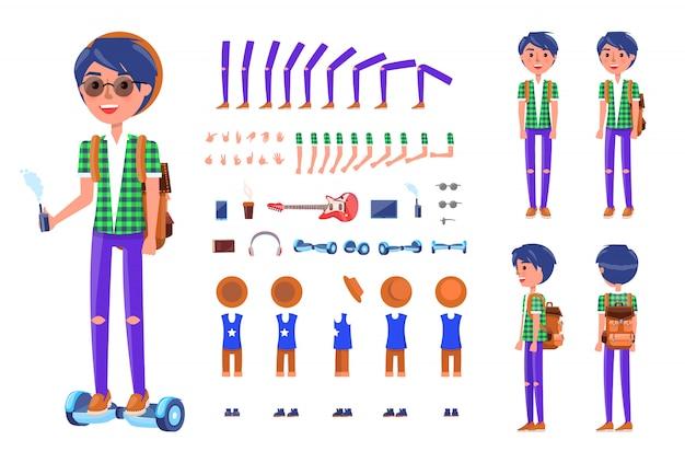 Jonge tiener met hoverboard icons set