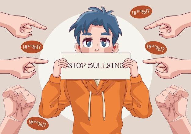 Jonge tienerjongen met stop pesten belettering in banner en handen indexeren illustratie