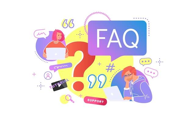 Jonge tieners die met laptop zitten en vragen hebben. platte vectorillustratie van twee studenten hebben professionele hulp of veelgestelde vragen van de gemeenschap nodig. mensen die wachten op hepldesk-service of video-tutorial bekijken