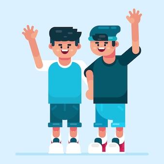 Jonge tieners zwaaiende hand