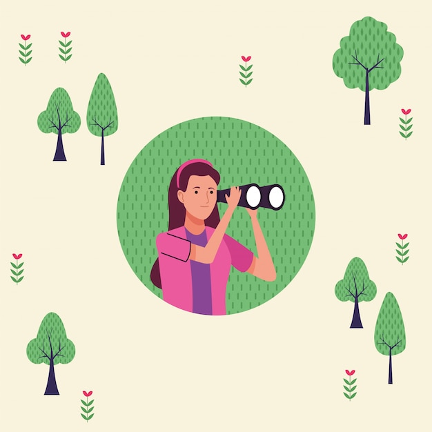Jonge toeristische vrouw met behulp van verrekijker karakter illustratie