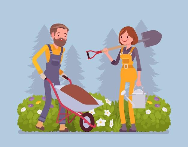 Jonge tuinlieden werken