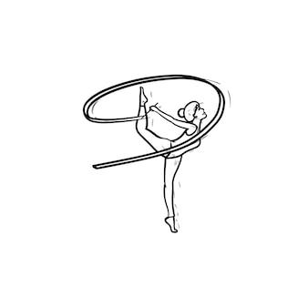Jonge turnster vrouw permanent op één been met lint hand getrokken schets doodle pictogram. ritmische gymnastiek concept