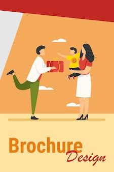 Jonge vader cadeau geven aan vrouw met kind. gift, doos, jongen platte vectorillustratie. familie en verjaardag concept