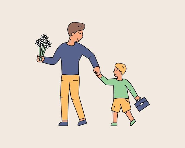 Jonge vader die eersteklasser naar school brengt. glimlachende vader houdt zijn zoon met de hand bloemen en schooltas vast. naar school gaan. kleurrijke lijn tekens mensen. platte ontwerp stijl minimale vectorillustratie.