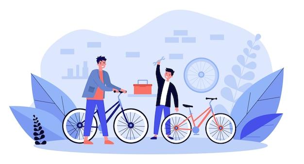 Jonge vader en zoon die fietsen in garage herstellen. wiel, fiets, familieillustratie. service- en transportconcept voor banner, website of bestemmingswebpagina