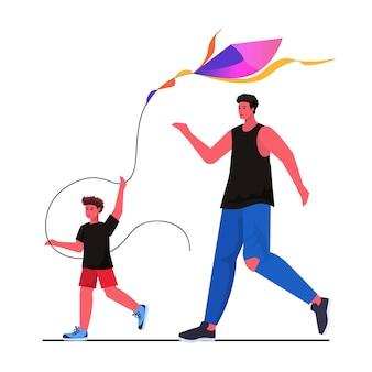 Jonge vader en zoon lanceren vlieger samen ouderschap vaderschap concept vader tijd doorbrengen met kind