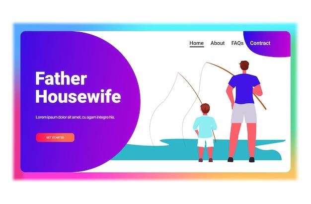 Jonge vader en zoon vissen met staven op meer ouderschap vaderschap concept vader tijd doorbrengen met kind horizontaal