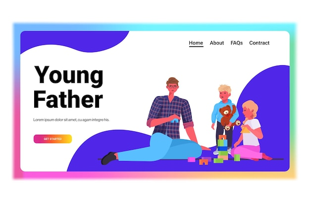 Jonge vader spelen met kleine kinderen thuis vaderschap ouderschap concept vader tijd doorbrengen met zijn kinderen horizontale volledige lengte kopie ruimte vectorillustratie