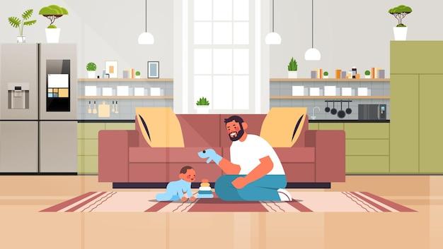 Jonge vader spelen met zoontje thuis vaderschap ouderschap concept vader tijd doorbrengen met zijn kind moderne keuken interieur horizontale volledige lengte vectorillustratie