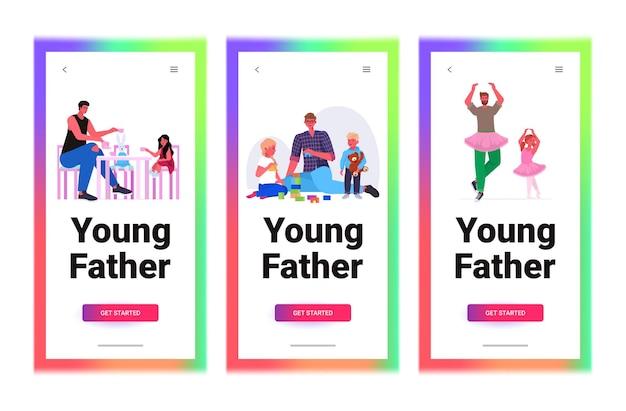 Jonge vader tijd doorbrengen met zijn kinderen ouderschap vaderschap concept volledige lengte horizontale kopie ruimte vectorillustratie instellen