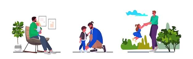 Jonge vader tijd doorbrengen met zijn kinderen ouderschap vaderschap concept volledige lengte horizontale vectorillustratie instellen
