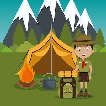 Jonge verkenner in de zone van de campingzone