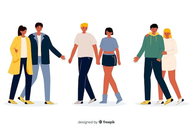 Jonge verliefde stelletjes samen wandelen