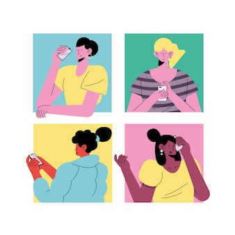 Jonge vier meisjes die de karaktersillustratie van technologieavatars dragen