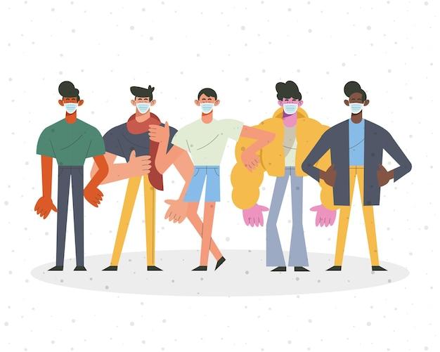 Jonge vijf jongens die de illustratie van medische maskerskarakters dragen