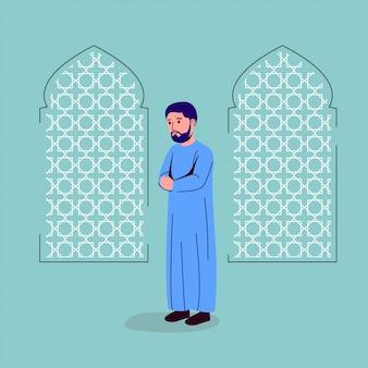 Jonge volwassen man bidden illustratie
