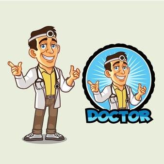 Jonge vriendelijke arts logo mascotte
