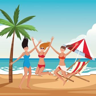 Jonge vrienden en zomercartoons