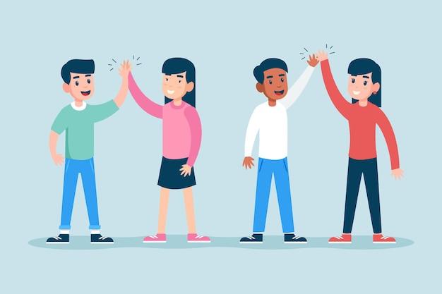 Jonge vrienden geven high five