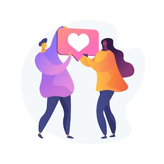 Jonge vriendin en vriendje verliefd. moderne romantiek, relatiestatus, internetflirt. paar dat als symbool, hartteken samen houdt.