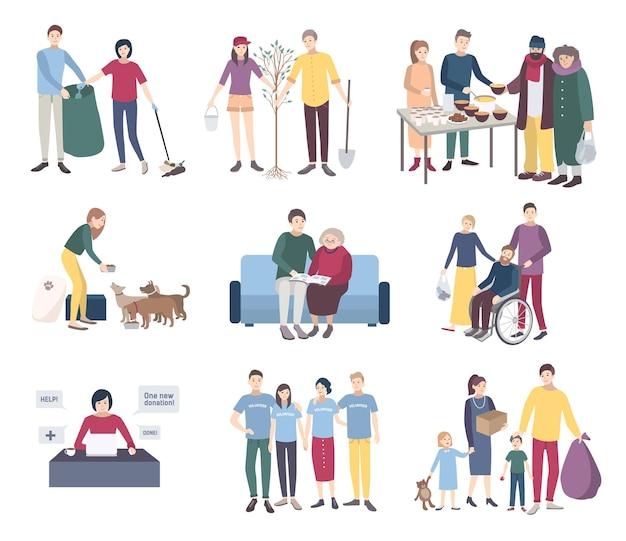 Jonge vrijwilligers ingesteld. platte vector illustratie collectie. help de daklozen, aaset, hulp aan gehandicapten en ouderen, dieren, het planten van bomen. vrijwilligerswerk concept.