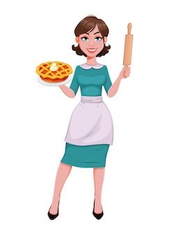 Jonge vrolijke huishoudster, moeder, mooie succesvolle vrouw