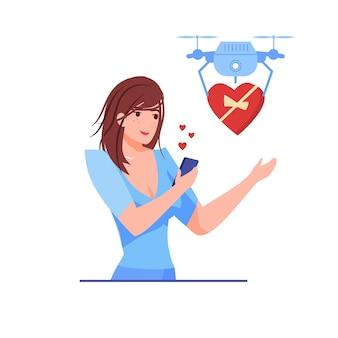 Jonge vrouw accepteert hartvormige geschenk van drone op valentijnsdag