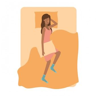 Jonge vrouw afro in bed avatar karakter