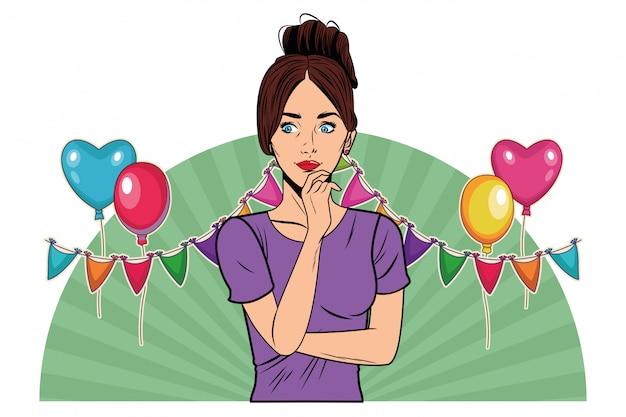 Jonge vrouw avatar cartoon karakter popart