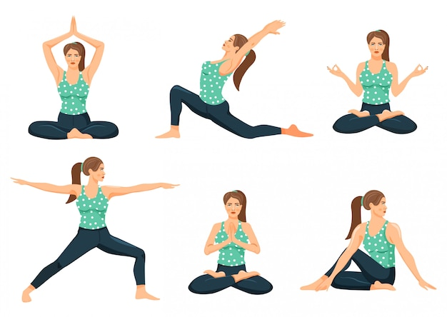 Jonge vrouw beoefenen van yoga Premium Vector