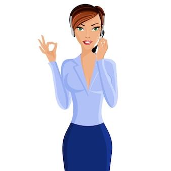 Jonge vrouw call center operator