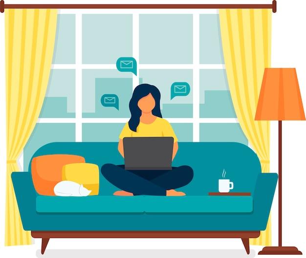 Jonge vrouw die aan laptop van huis werkt. vector illustratie