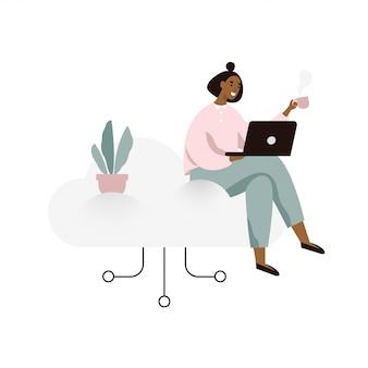 Jonge vrouw die aan laptop werkt en op een wolk zit. cloud opslag concept illustratie in vlakke stijl.