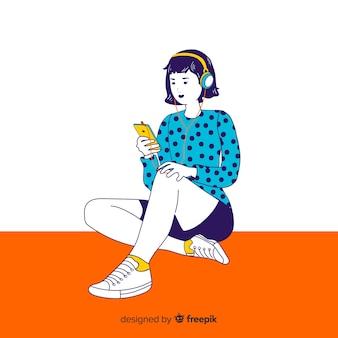 Jonge vrouw die aan muziek in koreaanse tekeningsstijl luistert