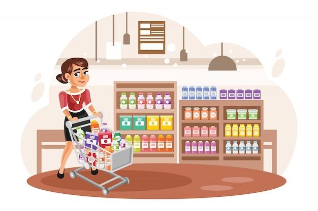 Jonge vrouw die bij supermarkt vectorillustratie winkelt