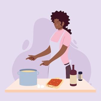 Jonge vrouw die een heerlijk recept in het ontwerp van de keukenillustratie kookt