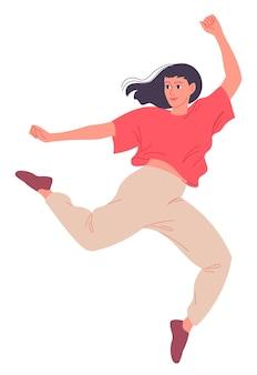 Jonge vrouw die een moderne dans danst. danseres